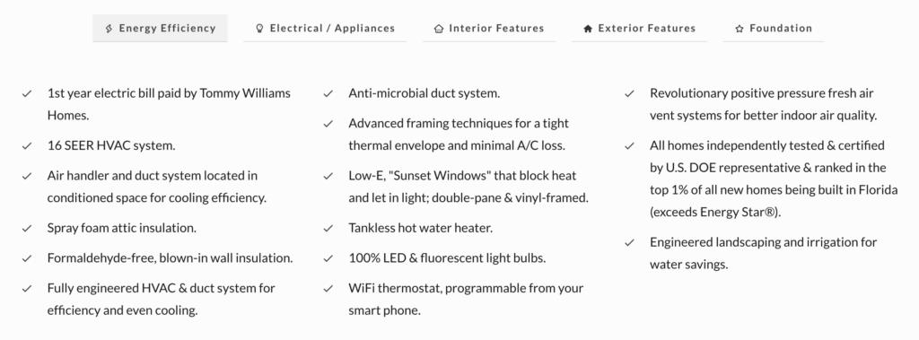 energy efficiency features